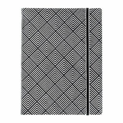 Filofax Notebook Impressions A5 - Black and White Deco w/ Elastic Closure 115067