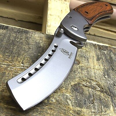 "8"" BUCKSHOT RAZOR BLADE STYLE WOOD SPRING ASSISTED FOLDING POCKET KNIFE Open EDC"