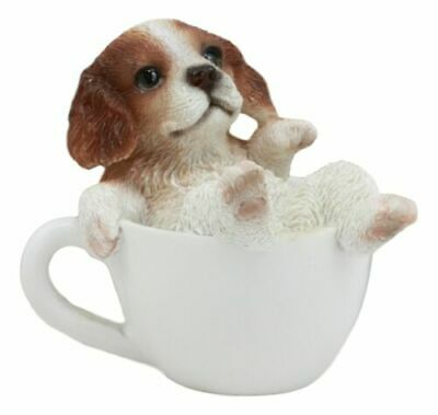 "Mini Adorable Cavalier King Charles Spaniel Dog Teacup Statue Pet Pal 2.5""H"