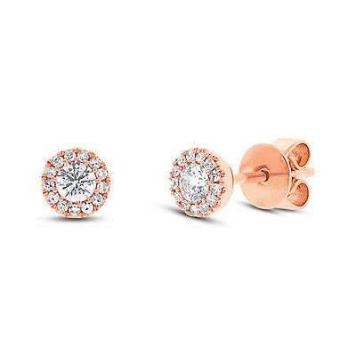 Natural 14K Rose Gold Round Brilliant Diamond Halo Solitaire Stud Earring 0.29CT