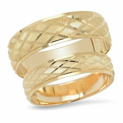 f28a8f4b2423ed 14K Yellow Gold His And Hers Diamond Shape Matching Wedding Band Ring Set  Duo