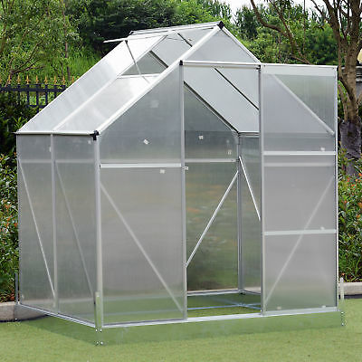 Outsunny 4.25' Outdoor Aluminum Polycarbonate  Portable Walk-In Greenhouse