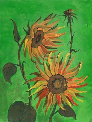 1.5x2 DOLLHOUSE MINIATURE PRINT OF PAINTING RYTA 1:12 SCALE SUNFLOWER REAL ART