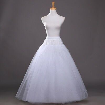 White Petticoat 1 Hoop A Line Crinoline Underskirt Slip Prom Wedding Dress Skirt