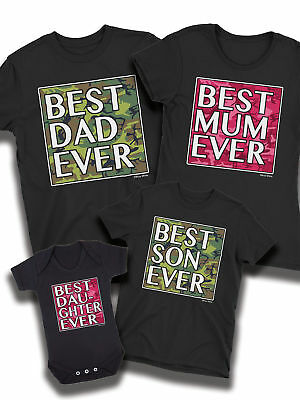Best Dad Ever Camo Matching T-Shirt Father Mum Son Daughter Family Baby