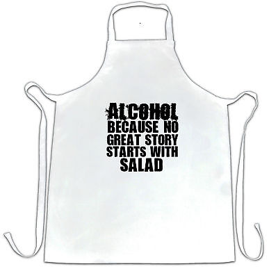 Novelty Chefs Apron No Great Story Starts With Salad Alcohol Pub Drinking