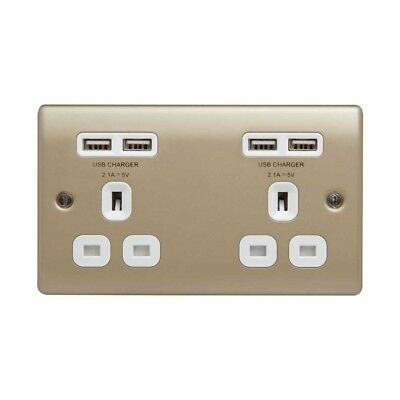 Masterplug 2 Gang Double Electrical Socket with 4 USB Ports High and Fast 4.2A