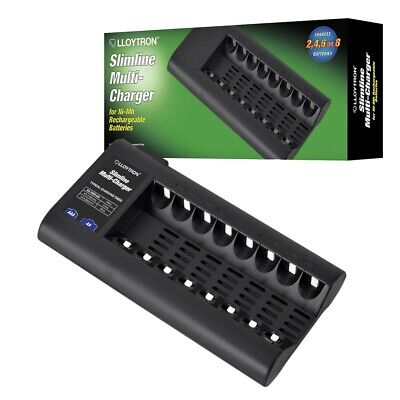 Lloytron Slimline 8 Bay NiMH Mains Battery Charger for AA and AAA Batteries