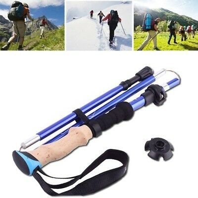 Trekking Pole 5-Sections Collapsible Walking Stick Cork Handle Hiking Stick Blue