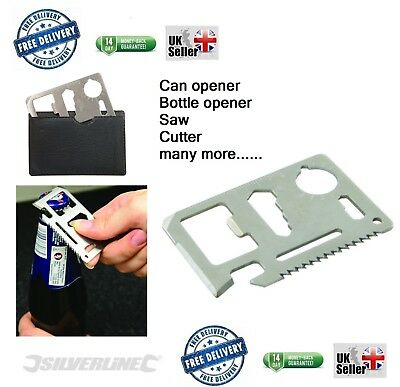 Credit Card Multi Tool 11 in 1 Survival Camping Fishing  present man gift