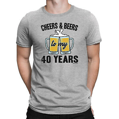 Mens 40th BIRTHDAY TShirt CHEERS And BEERS To 40 Years Old Gift Forty
