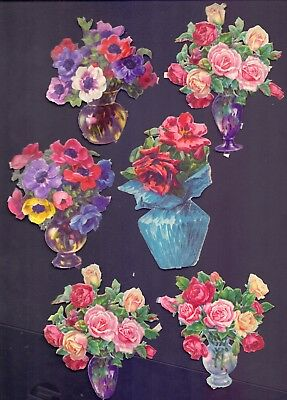 6 Nice Vintage Die Cut,Scraps Flowers in Pots Largest Scrap 115 x 70 mm  (SB 13)