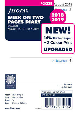 Filofax Paper Refill - Academic Calendar (Aug.-July) Week to View - Pocket 2019