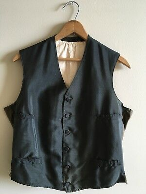Antique Mens Vest 19c Victorian Black Wool Vintage Late 1800s PARIS
