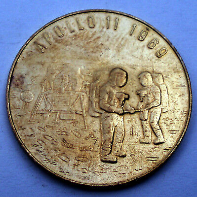 GERMANY, APOLLO 11 1969-1979 10 Jahre Mondlandung Token 30mm Brass O9.6