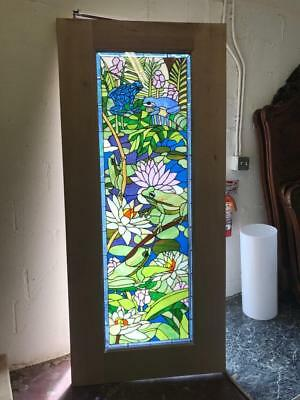 Beautiful Mahogany  Stained Glass Custom Frog Estate Door - Jh362