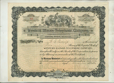 1896 Western Illinois Telephone Company Illinois Stock Certificate Issue #81