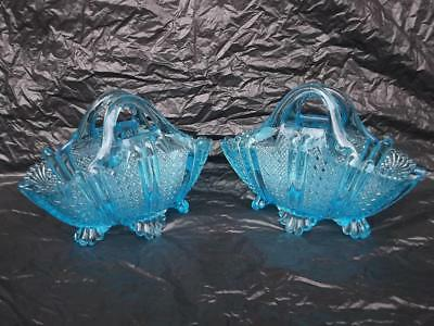 217 / GOOD PAIR OF ANTIQUE 1888 GEORGE DAVIDSON BLUE GLASS BASKETS . RG No 96945