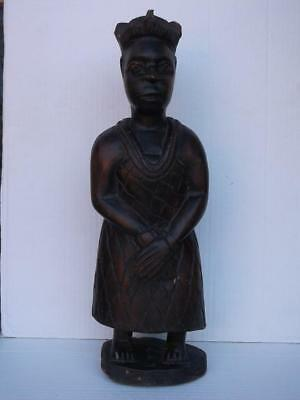 711 / Early 20Th Century Gold Coast Wooden Hand Carved Ashanti Royal Figure ?