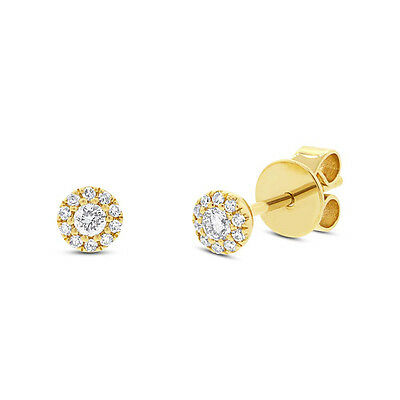 0.14 CT 14K Yellow Gold Natural Real Round Diamond Tiny Stud Baby Earrings 4MM
