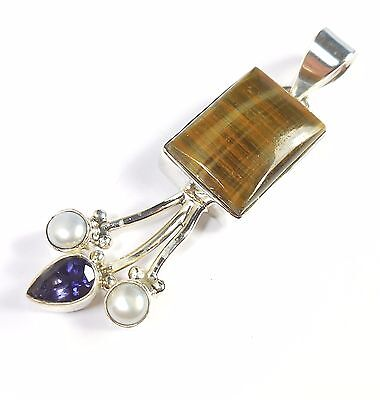 Tiger's Eye Iolite Pearl 925 Sterling Silver Pendant Uk Hallmarked Goldsmiths