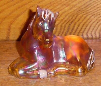 Hand Painted Iridescent Fenton Glass Horse / Foal Figurine -VL Anderson George