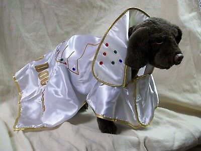 White & Gold Hound Dog King Jeweled Cape Pet Costume Elvis Rock n Roll One Size