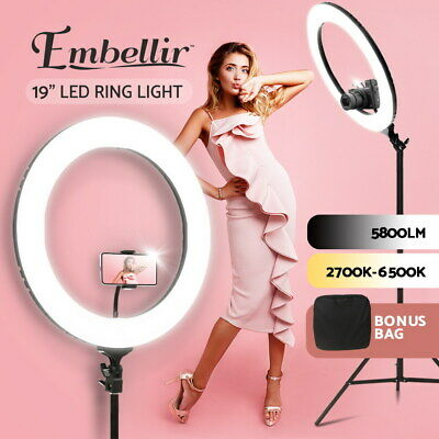 "19"" 5500K Dimmable Diva LED Ring Light Diffuser Stand Make Up Studio Mirror BK"