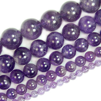 Grade A Natural Purple Dream Lace Amethyst Gemstone Round Beads 4mm 6mm 8mm 16""