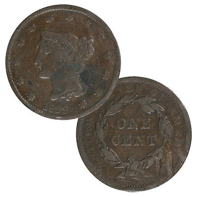 Braided Hair Large Cent in Circulated Condition
