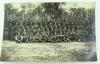 Super Rare Ww1 A.i.f. 4Th Reinforcement Machine Gunners Real Photo Postcard.