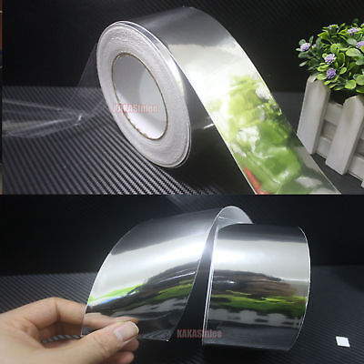 50mm Wide Adhesive Car Glossy Silver Mirror Chrome Vinyl Tape Wrap Sticker - CB