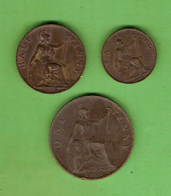 #D412. Queen Victoria Great Britain Bronze One Penny, Halfpenny & Farthing Coins