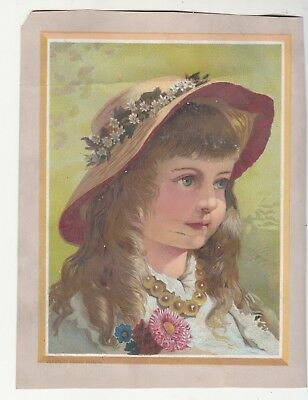 Girl w Brown Hair Straw Hat Beaded Necklace No Advertising Vict Card c1880s