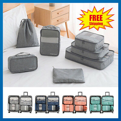 6/7PCS Packing Cube Pouch Suitcase Clothes Storage Bags Travel Luggage Organizer