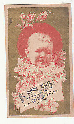 St Joachim Bazaar Toys Jewelry Fancy Goods Store Boston Baby Vict Card c1880s