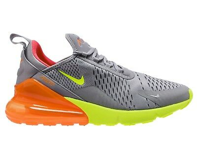Nike Air Max 270 Mens AH8050-012 Grey Volt Orange Mesh Running Shoes Size 9