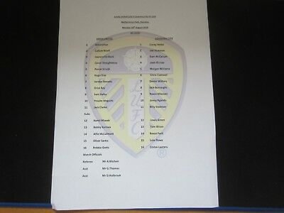 2018/19 U23 LEEDS UNITED v COVENTRY CITY @ GUISELEY COLOUR TEAM SHEET