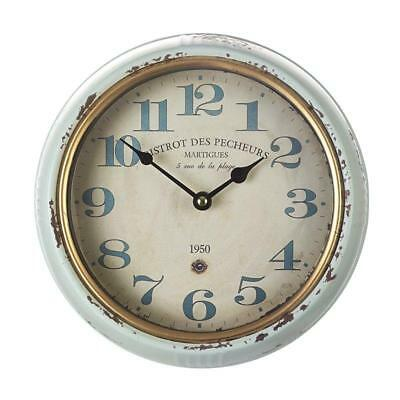 VINTAGE Shabby Chic Style French Rustic Wall CLOCK Kitchen Clock Blue 25cm