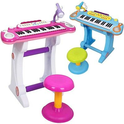 Electronic Keyboard Piano with Microphone & Stool Set Musical Kids Toy
