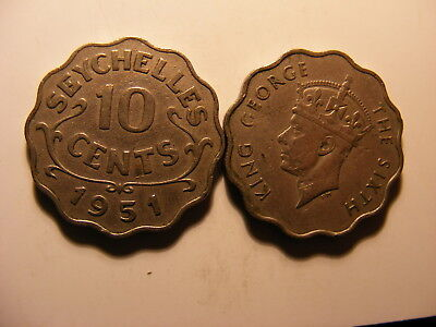 Seychelles 1951 10 Cents, Average Circulated, KM#1, MINTAGE 36K, One Year Type