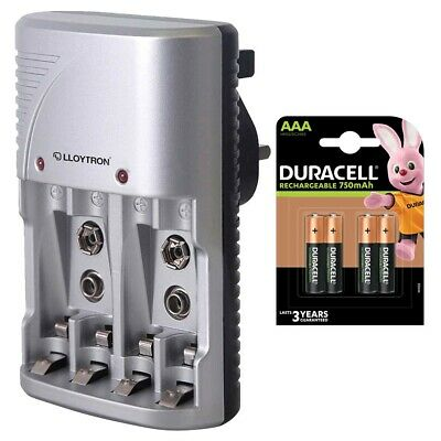 Lloytron AA AAA Battery Charger + 4x Duracell AAA 750 mAh Rechargeable Batteries