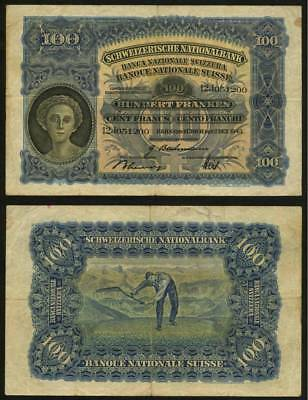 Currency December 2, 1943 Switzerland 100 Francs Banknote P 35q Series 12J