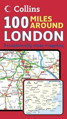 100 Miles Around London (Map) by Collins Sheet map, folded Book The Fast Free