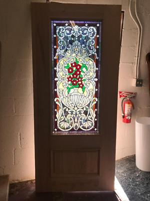 Beautiful Mahogany  Stained Glass Custom  Estate Door - Jhl2147-27