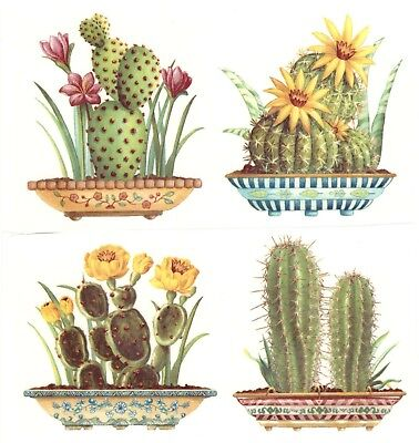 "Potted Blooming Cactus Cacti  4 pcs 2-3/4"" Waterslide Ceramic Decals Xx"