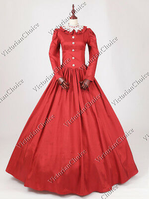 Victorian Maid Red Dickens Christmas Caroler Dress Gown Theater Costume N 316