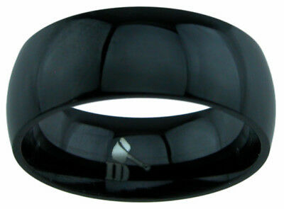 Men's all Black 8mm wide TITANIUM Plain Polished Wedding Band Ring Man's Jewelry