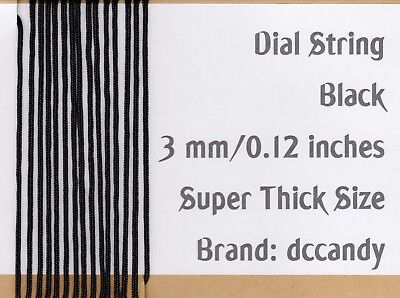 Radio Dial Cord 12 Ft BRAIDED Nylon String 3mm BLACK for Vintage Radio Tuner