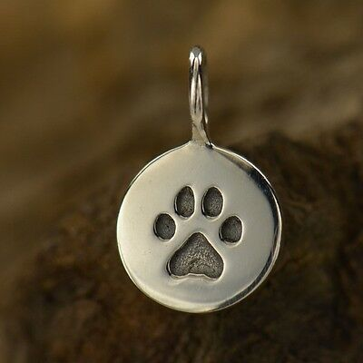 .925 Sterling Silver tiny mini PAW PRINT Disc Charm Love Pet Memorial Dog Charms